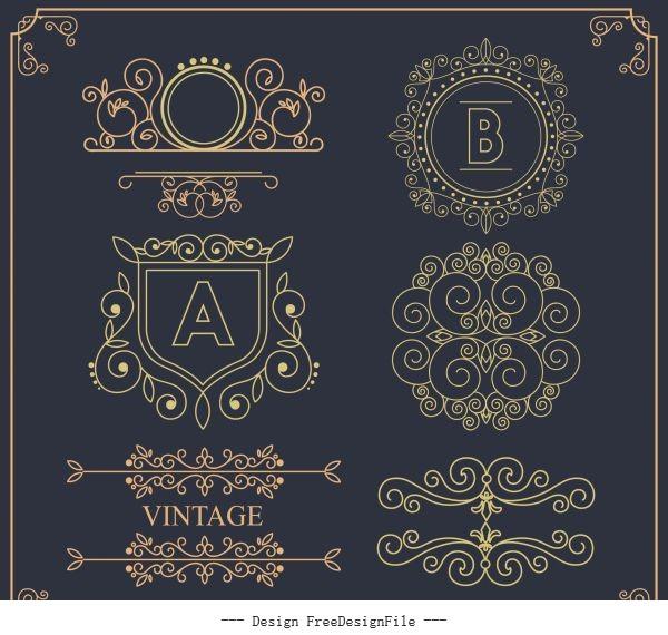 Document decorative templates elegant european symmetric seamless vector