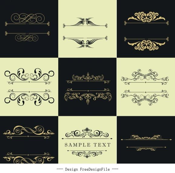 Document decorative templates european symmetric curves vector