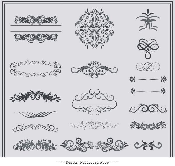 Documents decorative elements classical european symmetric curves shiny vector