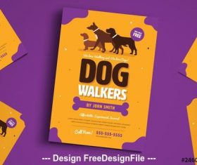 Dog walker flyer vector