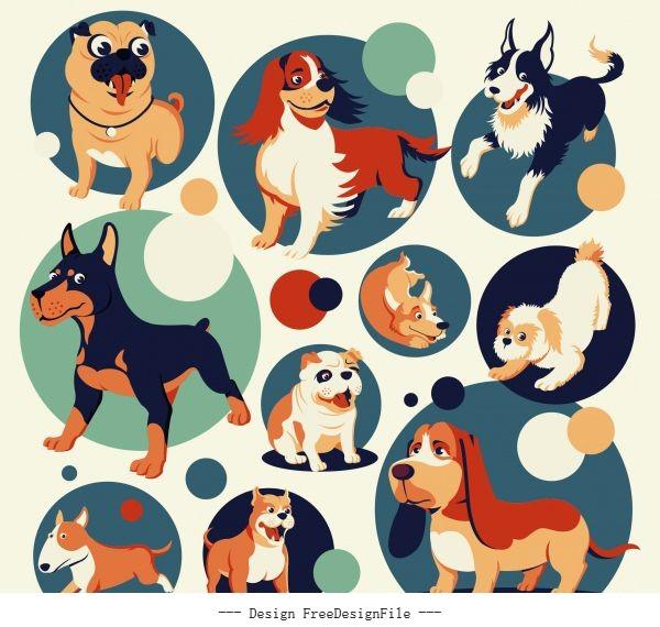 Dog species icons cute cartoon vector