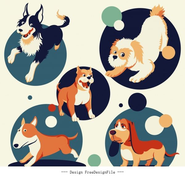 Dogs species icons cute cartoon characters vector