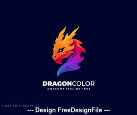 Dragon color gradient logo template vector