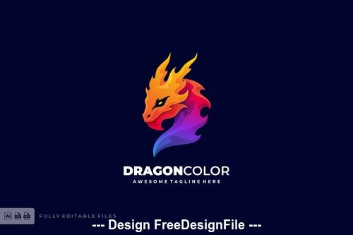 Dragon color gradient logo template vector
