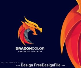 Dragon fire logo template vector
