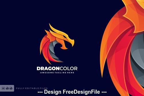 Dragon fire logo template vector