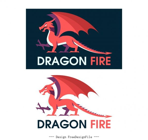 Dragon european style flat vector