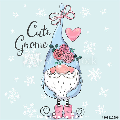 Dress up gift cute cartoon gnome vector