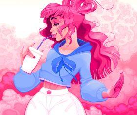 Drinking girl cartoon vector