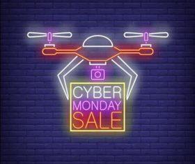 Drone delivery neon billboard vector