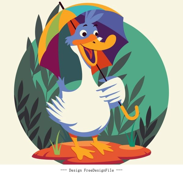 Duck animal cute cartoon character stylized vector