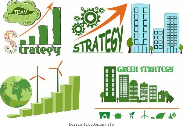 Ecology strategy elements globe building gear sketch vector