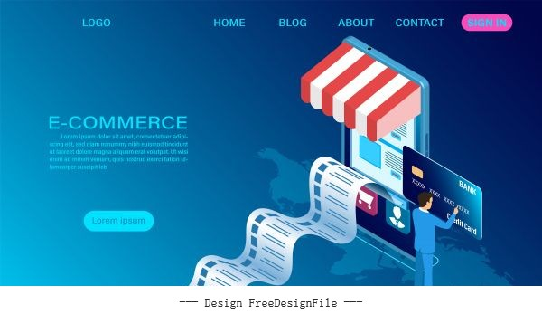 Ecommerce shopping online with mobile 3d isometric template vector set