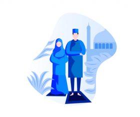 Eid Mubarak prayer cartoon vector