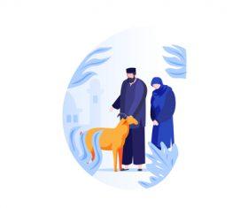Eid al adha couple cartoon vector 01