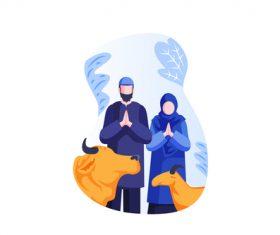 Eid al adha couple cartoon vector 03