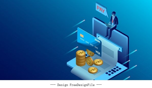 Electronic bill payment paper receipt flat isometric computer payment shoping banking vector graphics