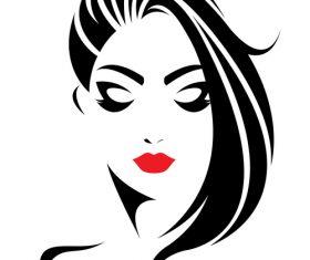 Elegant girl stylish hairstyle logo vector