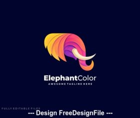 Elephant head colorful gradient logo template vector