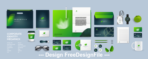Emerald background corporate branding identity template vector