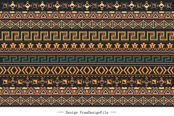 Ethnic pattern repeating horizontal layout vector