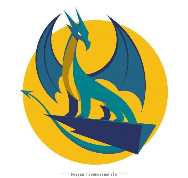 European dragon icon classical 3d sketch vector