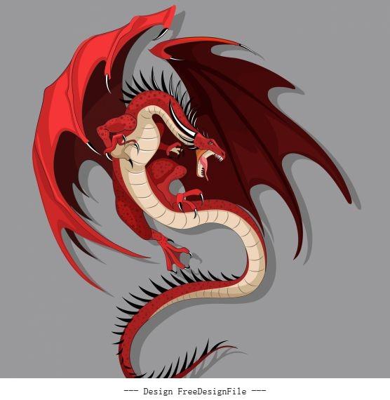 European dragon icon flying gesture catoon vector graphics