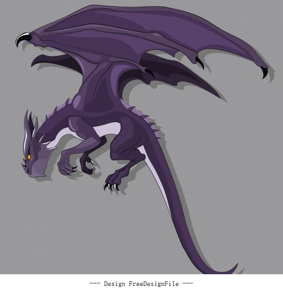 European dragon icon violet cartoon character sketch design vectors