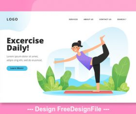 Excercise daily cartoon illustration vector
