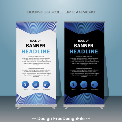 Exhibition business roll up banners vector