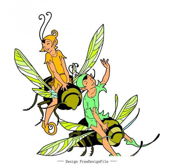 Fairy riding honey bee vector