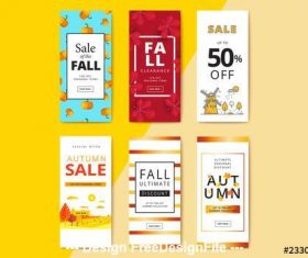 Fall sale mobile banner vector