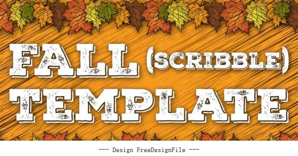 Fall scribbled background with thanksgiving cards vector