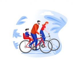 Family cartoon cycling outing vector