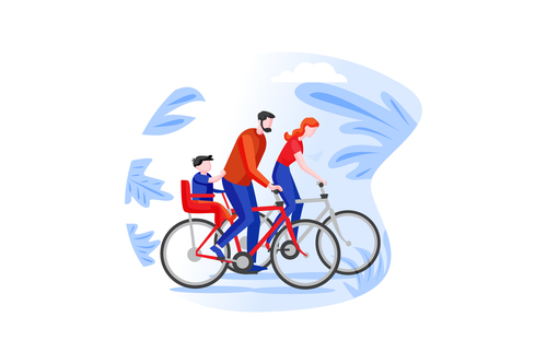 Family cartoon cycling outing vector