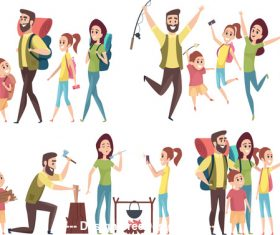 Family outing illustration vector