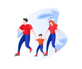 Family playing roller skates cartoon vector
