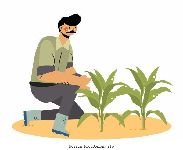 Farmer man growing tree cartoon character vector