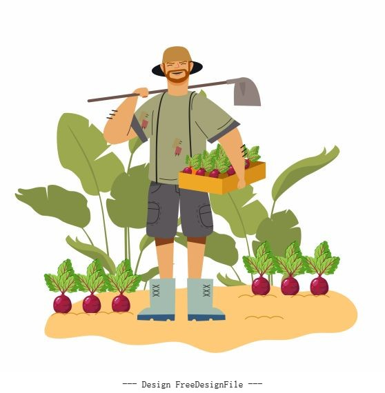 Farmer work painting man agriculture products vector material
