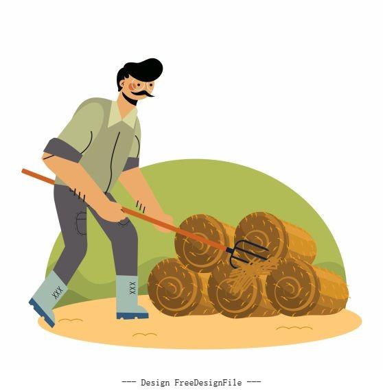 Farming painting farmer straw cartoon vector design