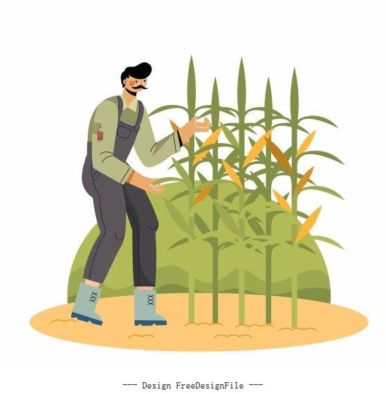 Farming work painting farmer corn plantation vector