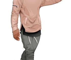 Fashion boy walking and touching his visor vector