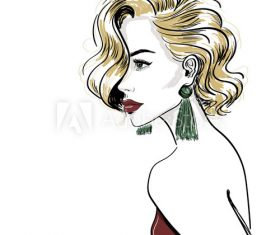 Fashion elegant girl silhouette accessories vector