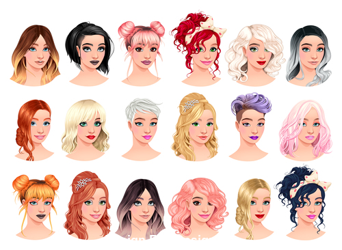 Fashion girl avatars with different hairstyles vector