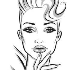 Fashion hairstyle female portrait sketch vector
