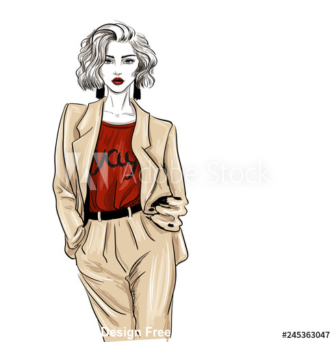 Fashion women sketch vector
