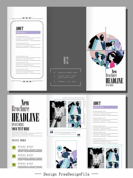 Fashion brochure templates bright shoppers vectors material