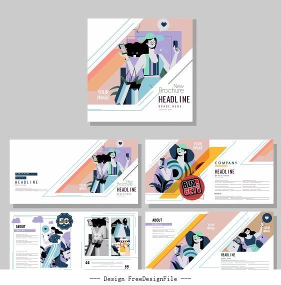 Fashion brochure templates colorful model set vector