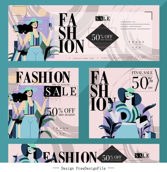 Fashion sale banners female shopper colorful vector
