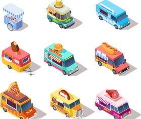 Fast food sales cart vector